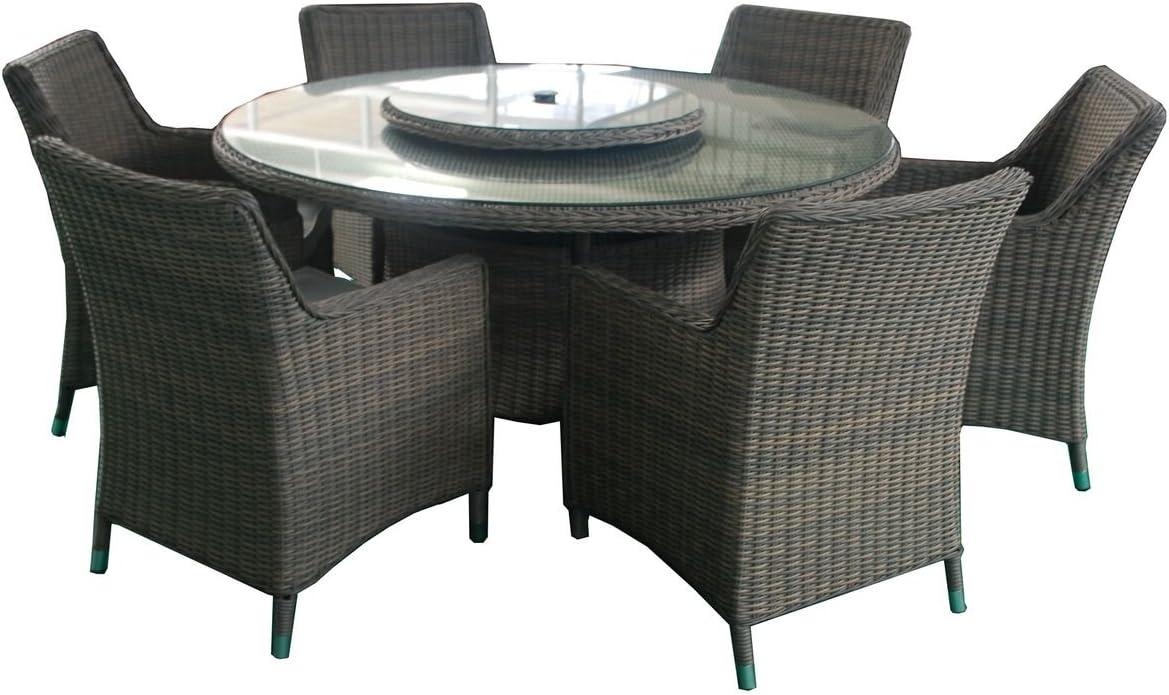 Al Fresco Living Sorrento - Juego de Mesa de Comedor y sillas de ratán para jardín y Patio, 6 plazas: Amazon.es: Jardín