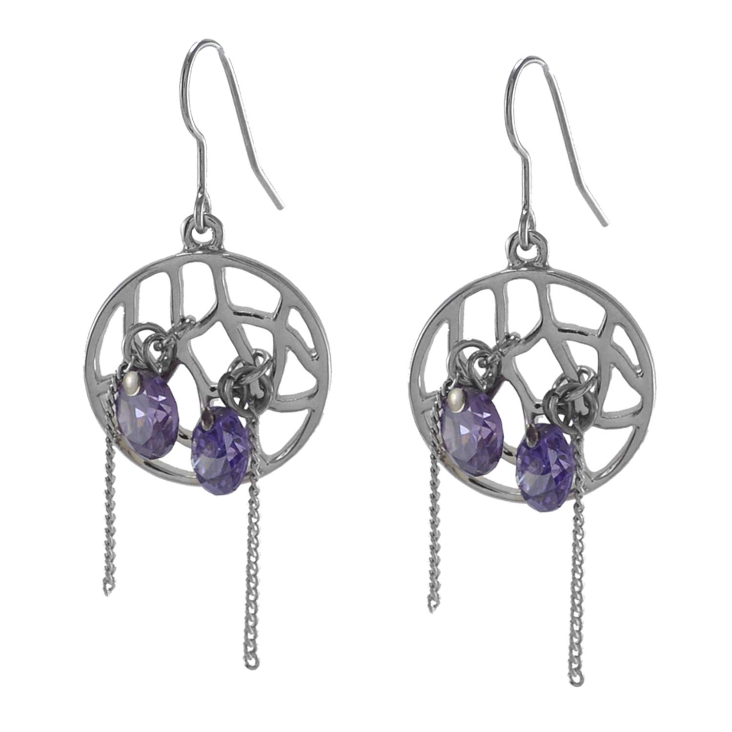 Saamarth Impex Amethyst 925 Silver Plated Dangle Earring For Women /& Girls PG-126179