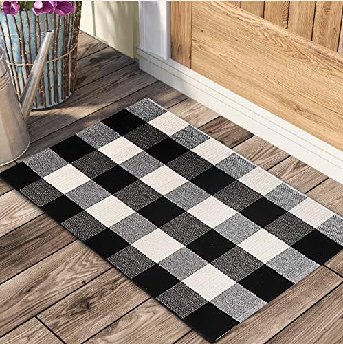 Ojia Cotton Buffalo Plaid Rugs Black and White Checkered Rug (24