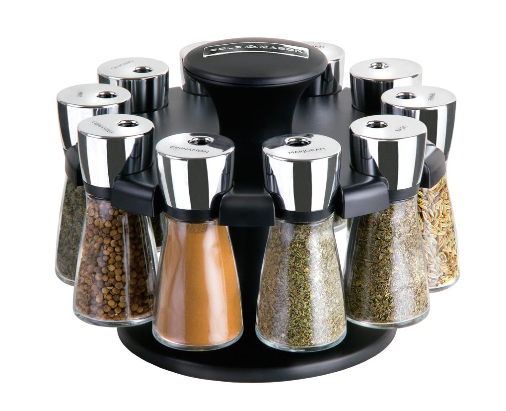 COLE & MASON Herb and Spice Carousel Rack Set with 10 Jars, Glass Bottles Include Spices by Cole & Mason