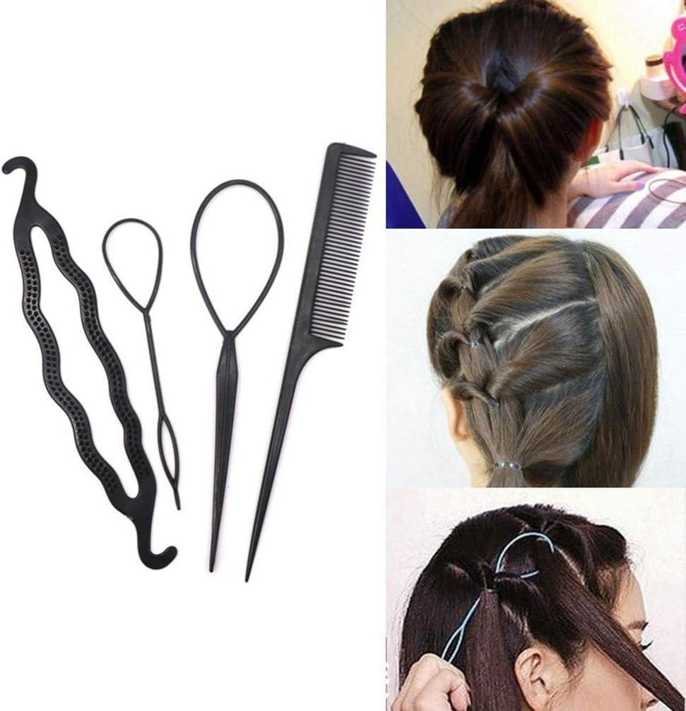 4Pcs Hair Braiding Roller Magic Hair Twist Styling Clip Bun Maker Tool