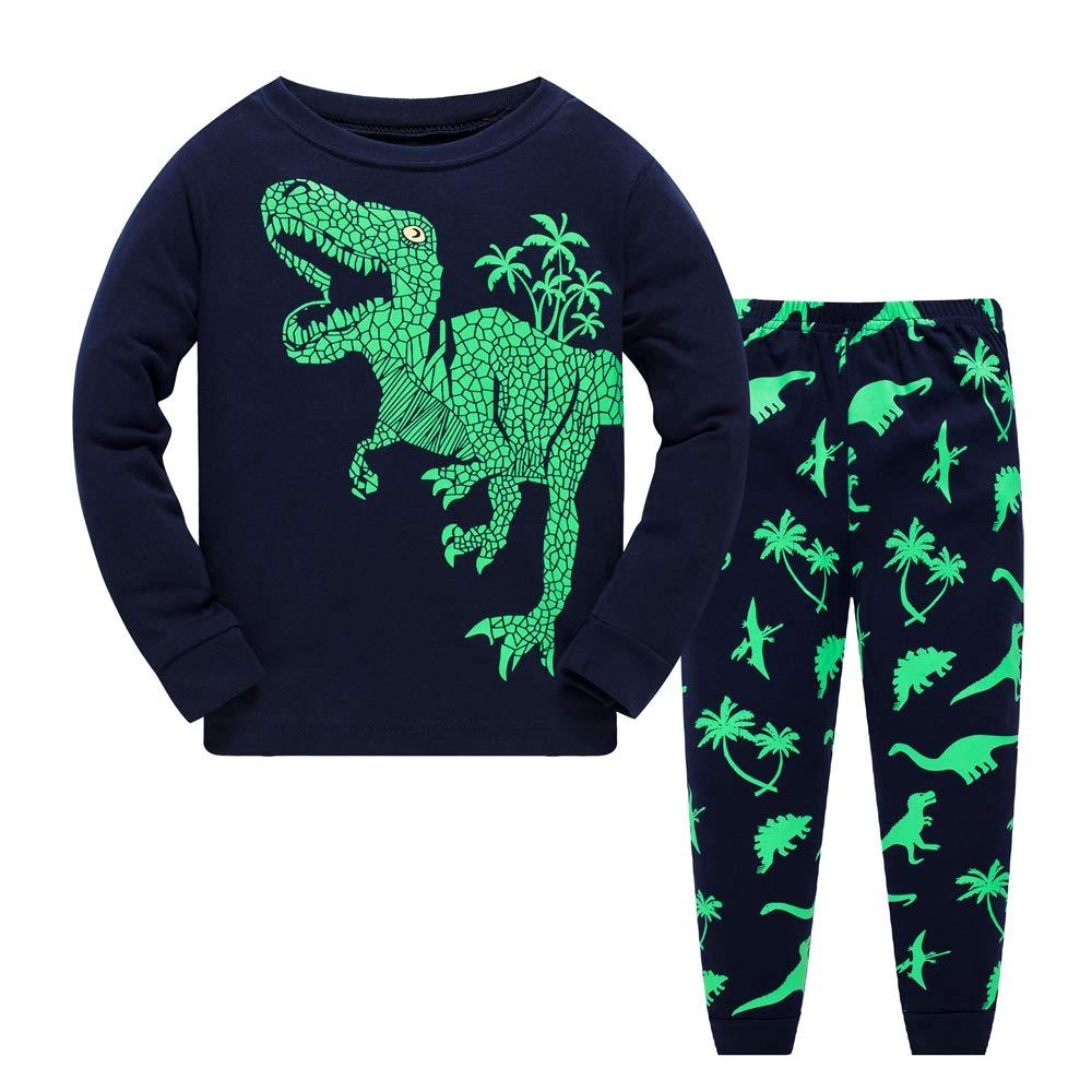 Boys Pyjamas Set 100/% Cotton Glow in The Dark Dinosaur Pjs Toddler Clothes Kids Winter Long Sleeve Sleepwear 2 Piece Outfit 1 to 7 Years
