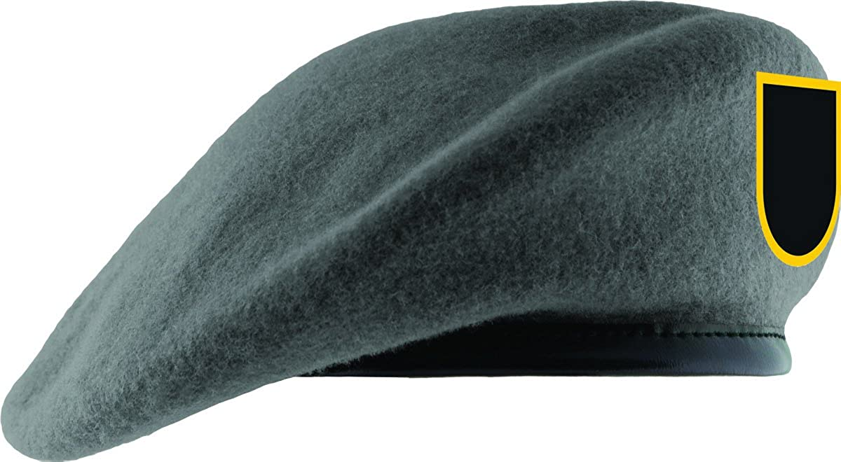001f82036bfc9 Amazon.com  Gray Unlined Beret with Leather Sweatband and JROTC Flash   Clothing