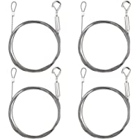 DXLing 4 Pieces Adjustable Picture Hanging Wire 2 mm x1.5 mm with Loop and Hook Heavy Duty Stainless Steel Wire Rope…