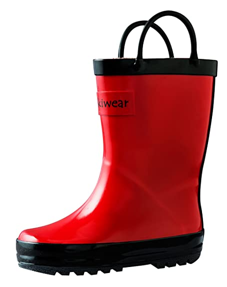 fbd221f3156f4 OAKI Kids Waterproof Rain Boots with Easy-On Handles, Fiery Red, 11T US  Toddler