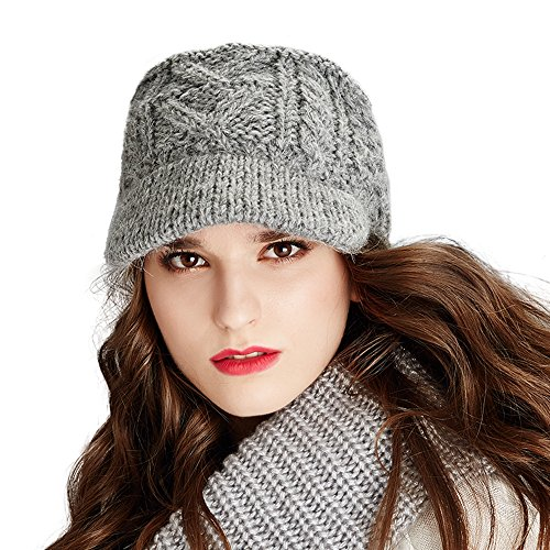 Kenmont Winter Alpaca Taqiyah Hand Knitted Hat newsboy Cable For Women In Black, Grey (Hand Knitted Hat)