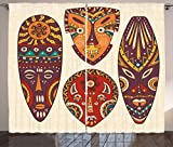 Ambesonne Tiki Bar Decor Curtains, Decorative Mask Designs African Aborigine Art Patterns Cultural Ethnic Print, Living Room Bedroom Window Drapes 2 Panel Set, 108 W X 63 L Inches, Multicolor