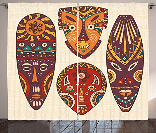 Tiki Bar Decor Curtains by Ambesonne, Decorative Mask Designs African Aborigine Art Patterns Cultural Ethnic Print, Living Room Bedroom Window Drapes 2 Panel Set, 108 W X 63 L Inches, Multicolor