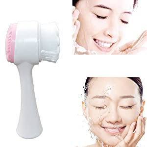Wisdompark Soft Dual Facial Cleansing Brush 2 in 1 Sebum Black Head Makeup Removing Massage Manual Face Clean Fiber Brush