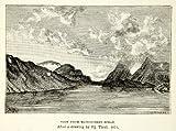 1882 Wood Engraving Art HJ Theel Matochkin Strait