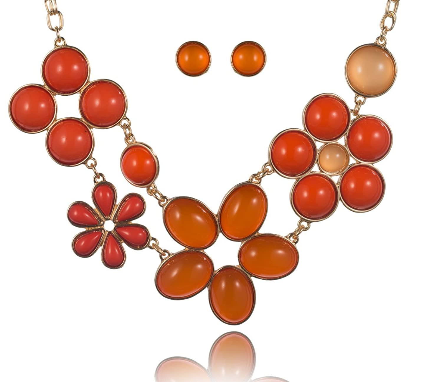 Flower Theme Designer Necklace Set with Earrings by Jewelry Nexus