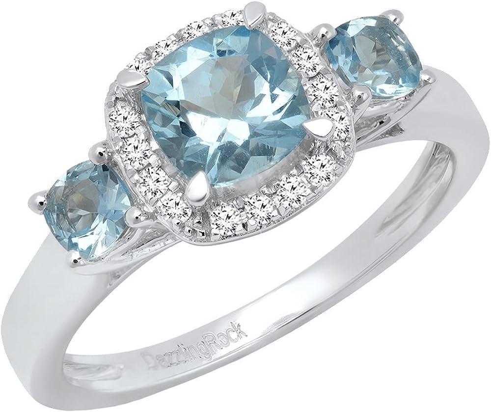 DazzlingRock Collection 14K Oro Blanco Cushion Aguamarina & Round Diamante Novia 3Piedra Anillo de Compromiso (tamaño 9)