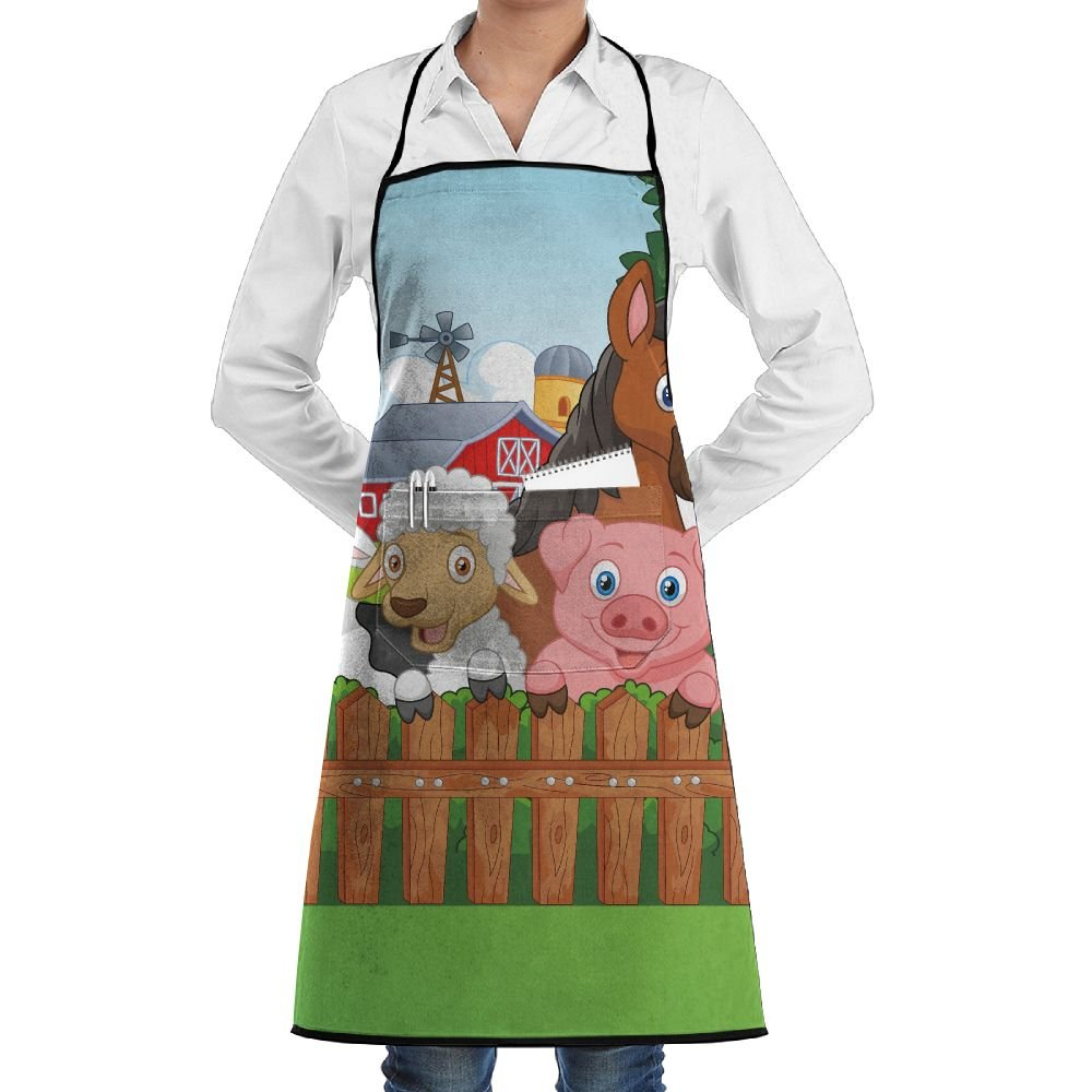 Grill Aprons Kitchen Chef Bib - SarahKen Cartoon Collection Of Cute Farm Animals On The Fence Comic Mascots With Dog Cow Horse Professional For BBQ Baking Cooking For Men Women Pockets