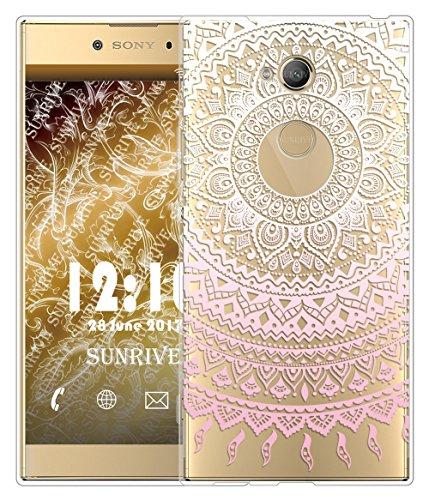 Funda Para Sony Xperia L2 5,5 pulgadas, Sunrive Silicona Funda Slim Fit Gel Transparente Carcasa Case Bumper de Impactos y Anti-Arañazos Espalda Cover(tpu Dinosaurio)+1 x Lápiz óptico tpu Flor rosa