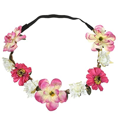 KCPer adies Floral Flower Festival Wedding Garland Hair Head Band Beach Party (Hot Pink)
