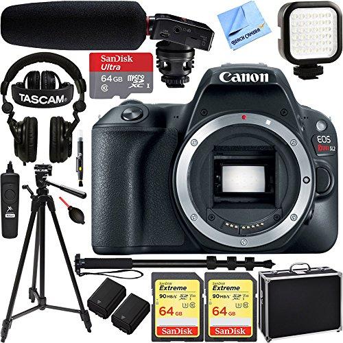Canon-EOS-Rebel-SL2-24MP-SLR-Digital-Camera-EF-S-18-55mm-IS-STM-Lens-Black-2249C002-64GB-Dual-Battery-Shotgun-Mic-Pro-Video-Bundle-Pro-Audio-Video-Recording-Bundle