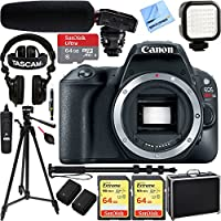 Canon EOS Rebel SL2 24MP DSLR Camera (Body) - Black w/ Tascam DSLR Audio Recorder and Shotgun Microphone + 128GB & 64GB Pro Video Bundle