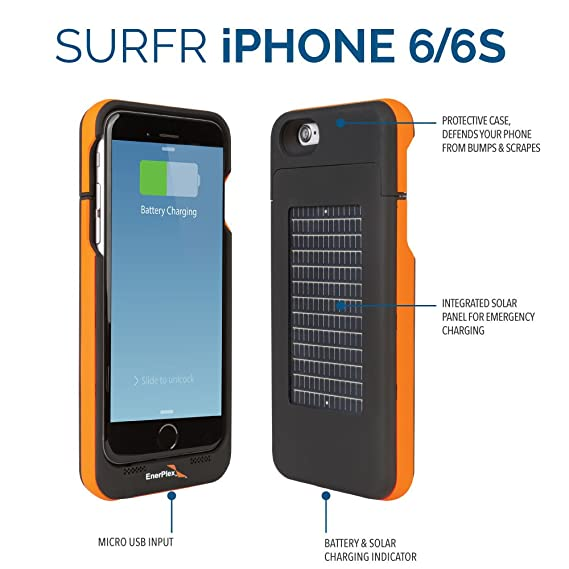 Amazon.com  EnerPlex Surfr Ultra Slim Battery Backup   Solar Powered Case  for iPhone 6 iPhone 6S c2d4df17c3ef
