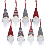 Gnomes Christmas Tree Ornaments Set of 8, Christmas Ornaments 2020 Handmade Plush Gnomes Santa Elf Hanging Home Decorations H