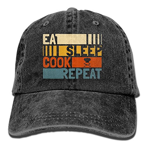 Unisex Eat Sleep Cook Repeat Jeanet Baseball Cap Adjustable HipHop Cap For Men Or Women (Cook Cap Womens)