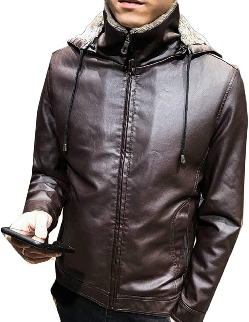 XQS Mens Thicken Solid Slim Fit Pu Leather Fleece Zipper Jackets