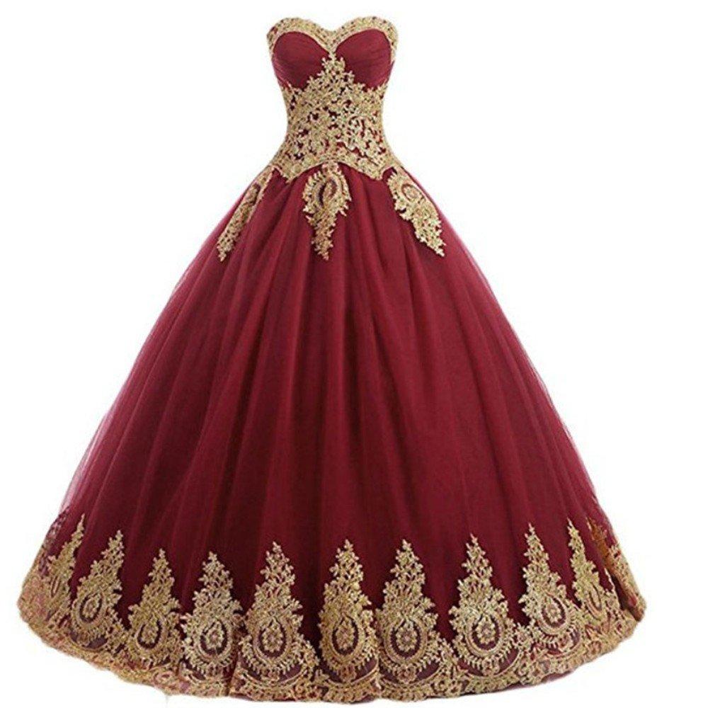 Diandiai Women's Gold Lace Applique Prom Ball Gown Quinceanera Dresses Wedding Party Dress Plus Size Burgundy 6