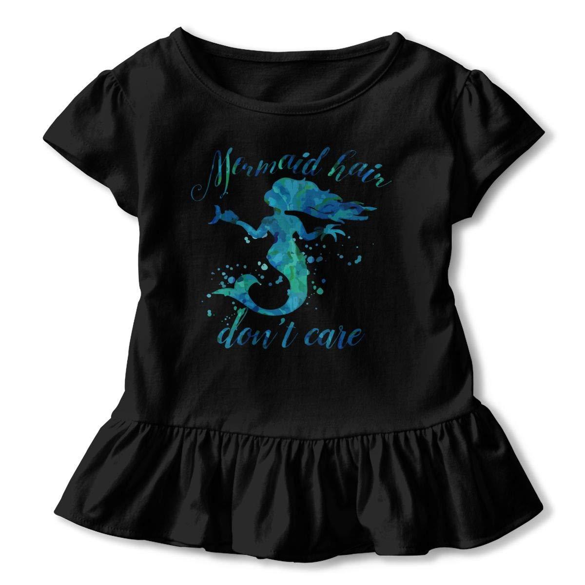 CZnuen Mermaid Hair Dont Care 2-6T Baby Girls Cotton Jersey Short Sleeve Ruffle Tee