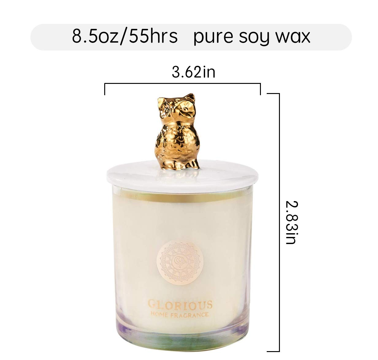 Scented Aromatherapy Candles Gift - Natural Soy Wax Sweet Pea & Lily Essential Oil Scented Candle,8.5 oz Cute Owl Decorative Glass Jar Candle, Mother's Day Candle Gift