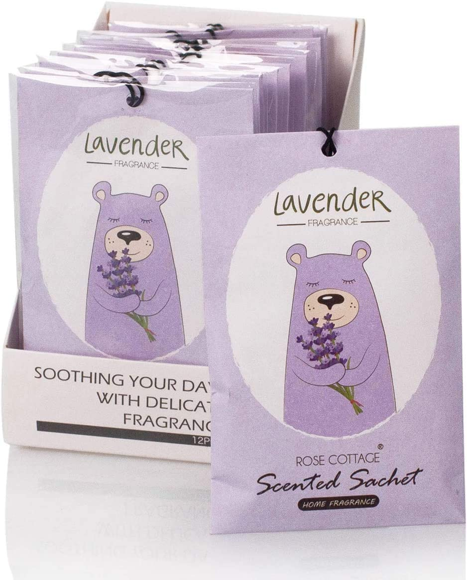 Rose Cottage 12Packs Lavender Scented Drawers and Closets Freshener Sachets,Air Freshener Home Supplies Scent Clear Air Potpourri Bags-Shoe air Deodorizer Fresheners