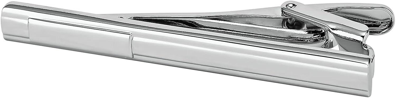 KnSam Stainless Steel Tie Clips for Mens Rectangular Engraved Stripe Silver Tie Bar