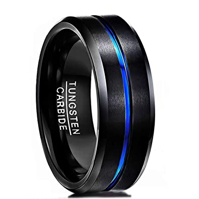 ee7dd9d1503 ATOP 8mm Tungsten Carbide Ring Black Brushed Blue Stripe Wedding Band Men s  Jewelry with luxury box