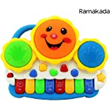 Ramakada Drum Keyboard Musical Toy with Flashing Lights – Animal Sounds and Songs, Multi Color