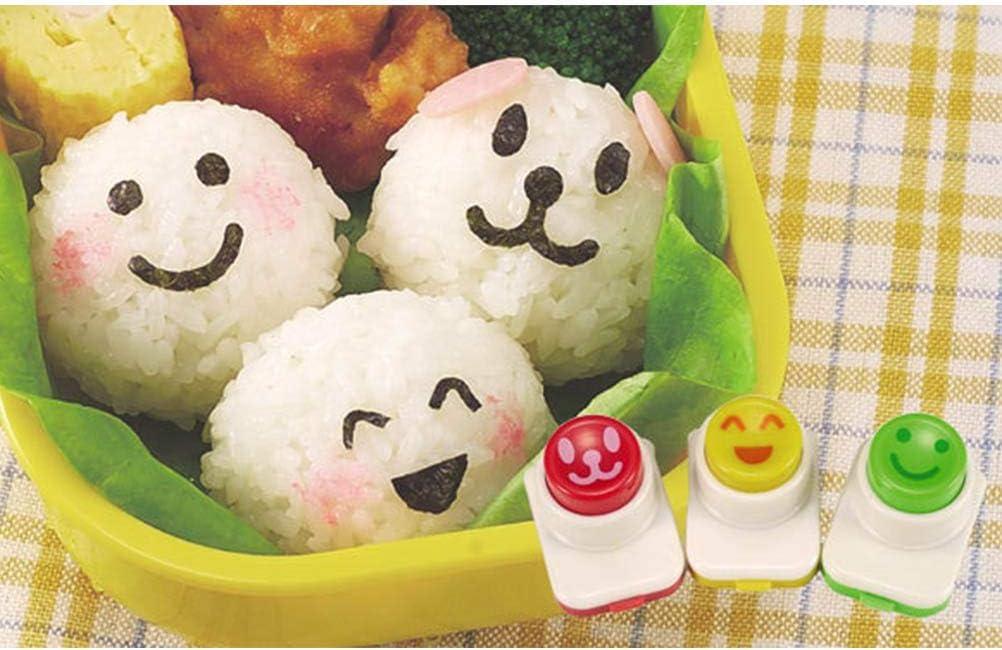 BESTONZON 3 pcs Sushi de Riz Moule Onigiri Maker Shaper Moule Sourire Visage Sushi d/écoration Moule poin/çon Dispositif de gaufrage