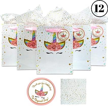 Amazon.com: Bolsas de fiesta de unicornio para regalos de ...