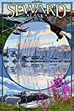 alaska painting - Seward, Alaska - Montage (12x18 SIGNED Print Master Art Print w/ Certificate of Authenticity - Wall Decor Travel Poster)
