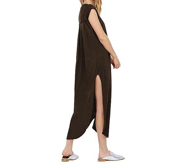 Paule Trevelyan NEW mulheres casuais vestidos longos de manga curta drapeado solto estilo maxi dress reta