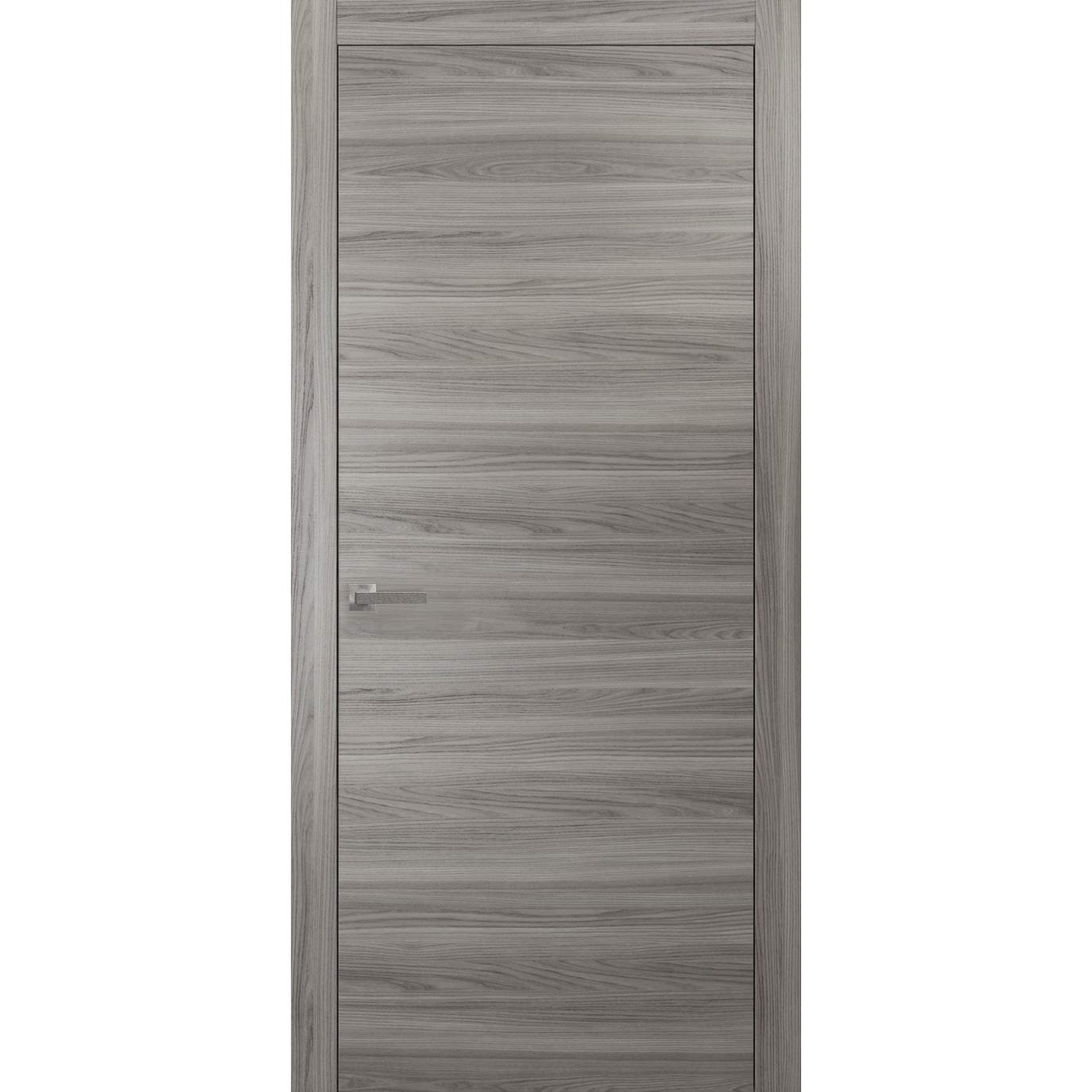 Wood Solid Door 32 x 84 inches   Planum 0010 Ginger Ash   Frame Trims Lever Hardware   Interior Modern Flush Pre-hung Grey Doors
