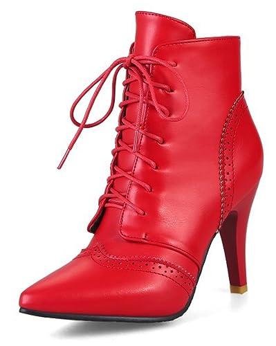 SHOWHOW Damen Spitz Zehe Knöchelhohe Stiefel Stiletto Stiefeletten Schwarz 37 EU SUn1AoANC