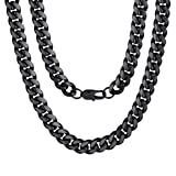 Stainless Steel Necklace 18 inch 10MM Curb Chain Boy Man Jewelry Black (Color: 10mm-black color)