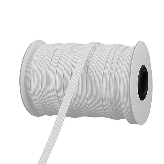 Black WEWGO 0.6 Inch Wide Black Knit Elastic Spool Heavy Stretch High Elasticity Knit Elastic Bands 0.6 Inch x 11 Yard