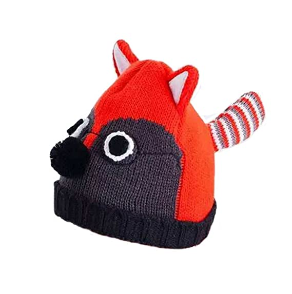 1c008a98ef3a2 BIBITIME Cartoon Animal Fox Hat with Ears Eyes Pom Nose Stripes Tail Beanie  Cap  Amazon.ca  Clothing   Accessories