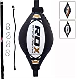 RDX Maya Hide Leather Boxing B Ball Double End Dodge Speed Bag Punching MMA Training Workout Floor to Ceiling Rope