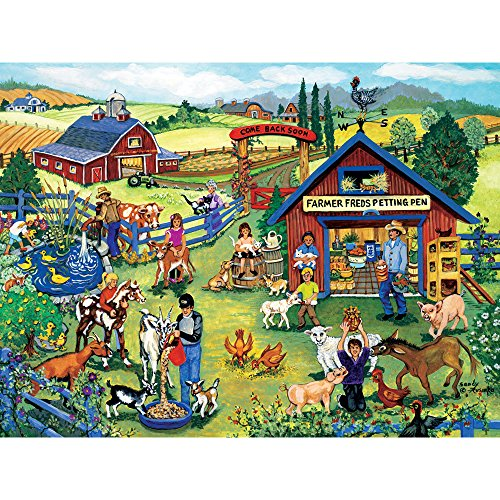 Bits and Pieces - 500 Piece Jigsaw Puzzle for Adults - Farmer Freds Petting Pen 500 - 500 pc Jigsaw by Artist Sandy Rusinko