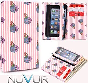 Slim Phone Cover Case With Wallet *Ty-vek* Pink White Cupcak e May Fit LG Optimus L5 II E460 + NuVur &153; k eychain |ESAMTVP1|