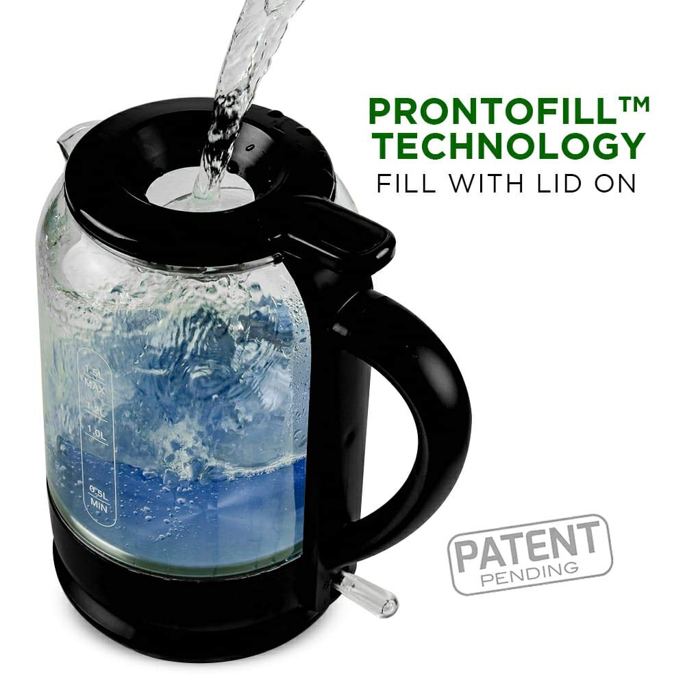 OVENTE Electric Glass Hot Water Kettle 1.5 Liter with ProntoFill™ Technology The Easy-fill Solution, Black (KG516B)