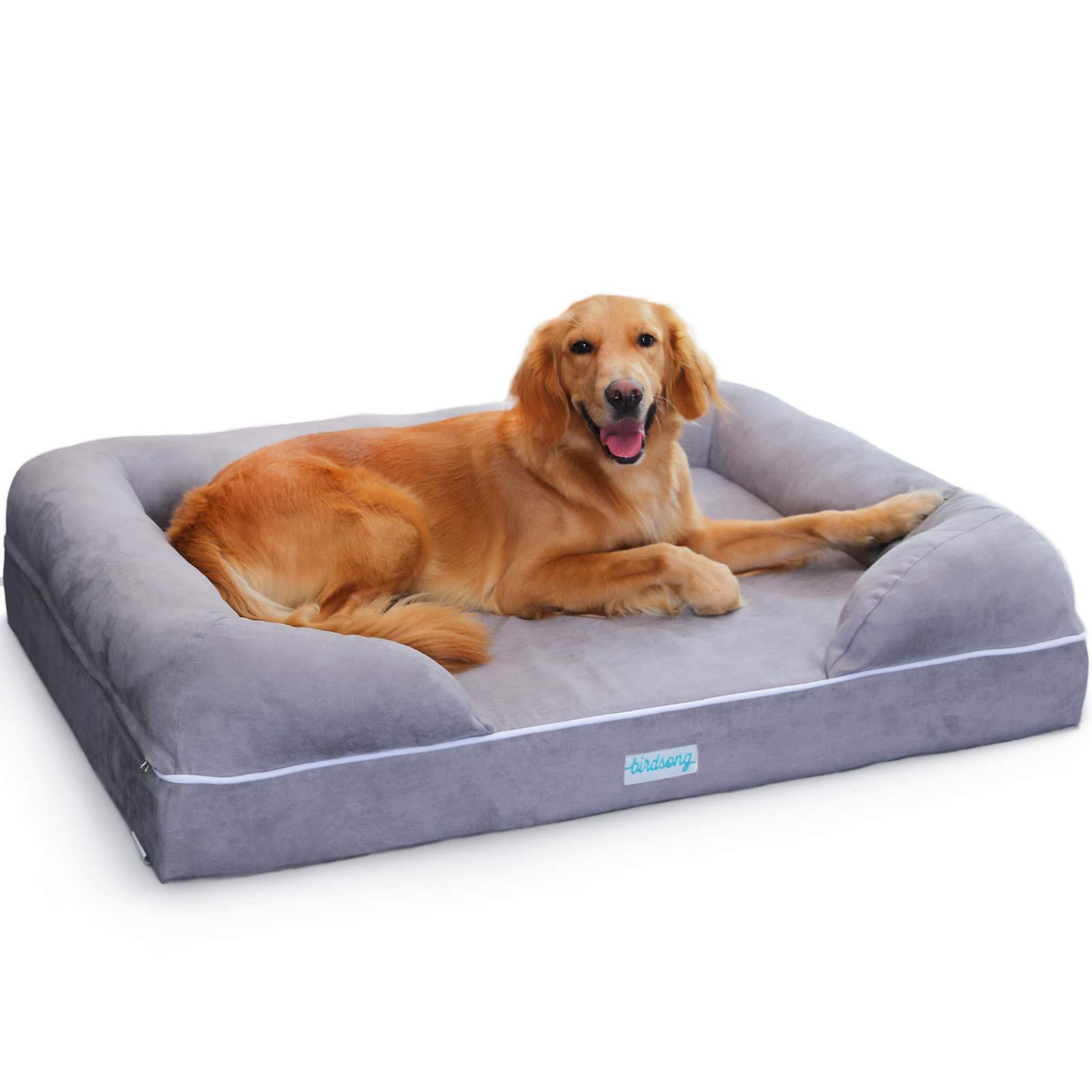 PLS Birdsong Rüya - Large Dog Bed with Triple-Layer Orthopedic Foam, Memory Foam Dog Bed, Extra Large 44'' x 34''