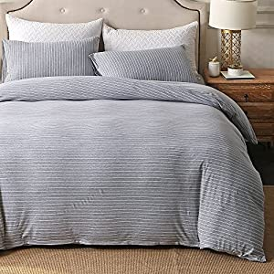PURE ERA Striped Duvet Cover Set Jersey Knit Cotton Ultra Soft Comfy Zippered Luxury Bedding Sets 3 Piece With Corner Ties - Grey White Queen