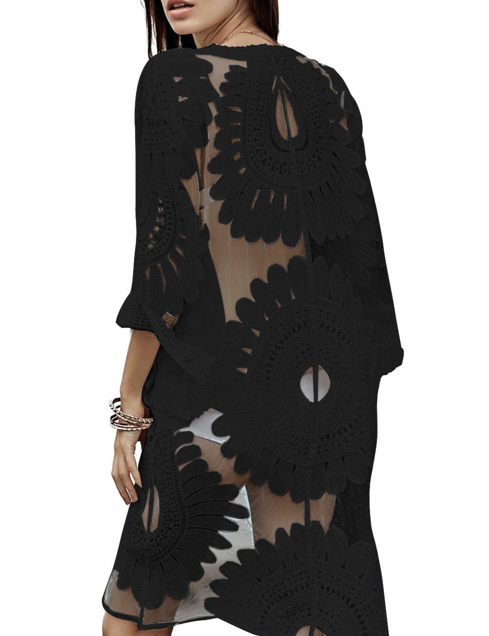 shermie Women's Floral Crochet Lace Beach Swimsuit Cover Ups Plus Size Long Kimono Cardigan Black