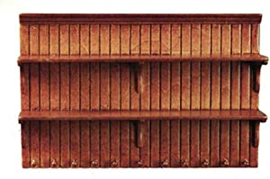 Melody Jane Dolls House Walnut Wall Shelf Unit Shelves JBM Miniature Kitchen Furniture