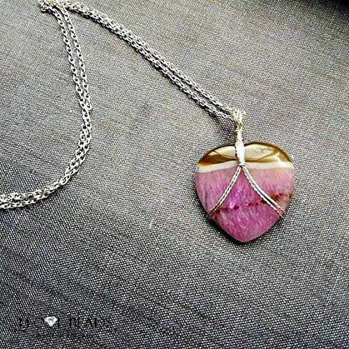 vanyjewl VANY Wire Wrapped Pink druzy Agate Heart Pendant Necklace-Pink and tan Stone Heart Necklace-Pink druzy Heart-Heart Pendant Necklace